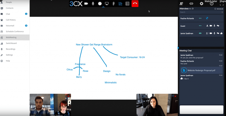 cloud telefonanlage 3cx screenshot einer webmeeting videokonferenz mit abgebildeten funktionen wie dem whiteboard und chatoptionen
