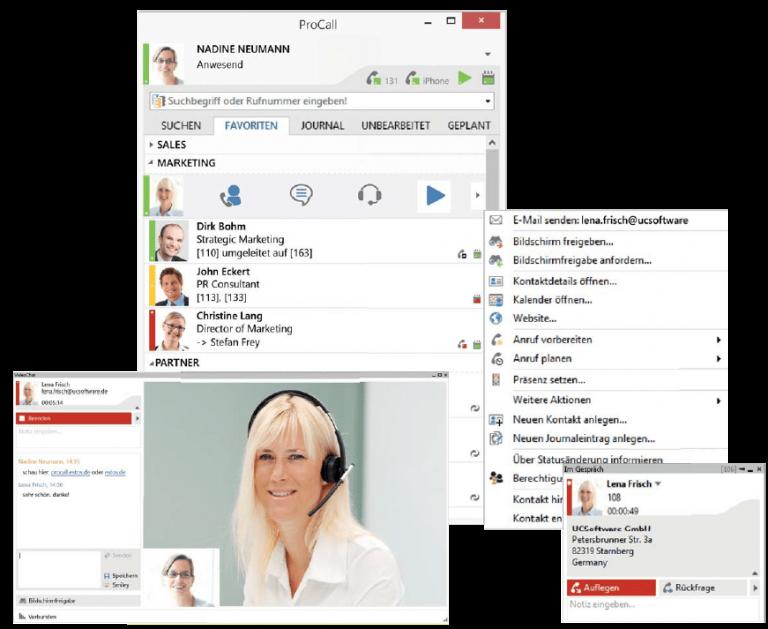 estos procall fenster screenshot mit funktionen webmeeting anrufmonitor kompatibel zu einer innoteck telefonanlage