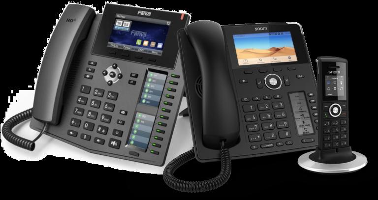 fanvil und snom sip telefone nebeneinander angeordnet passend für eine innoteck telefonanlage