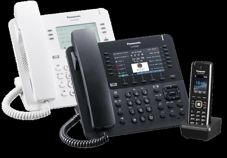 panasonic telefone vom modell nt680 in weiß und schwarz und ein tca285 schnurlostelefon an einer innoteck telefonanlage
