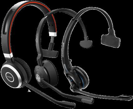 headsets von jabra und sennheiser nebeneinander angeordnet passend zu einer innoteck telefonanlage